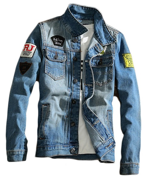 chaqueta denim tejana con parches bordados barata para chico